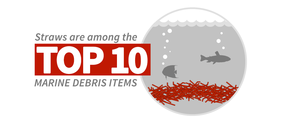 Straws are among the top 10 marine debris items